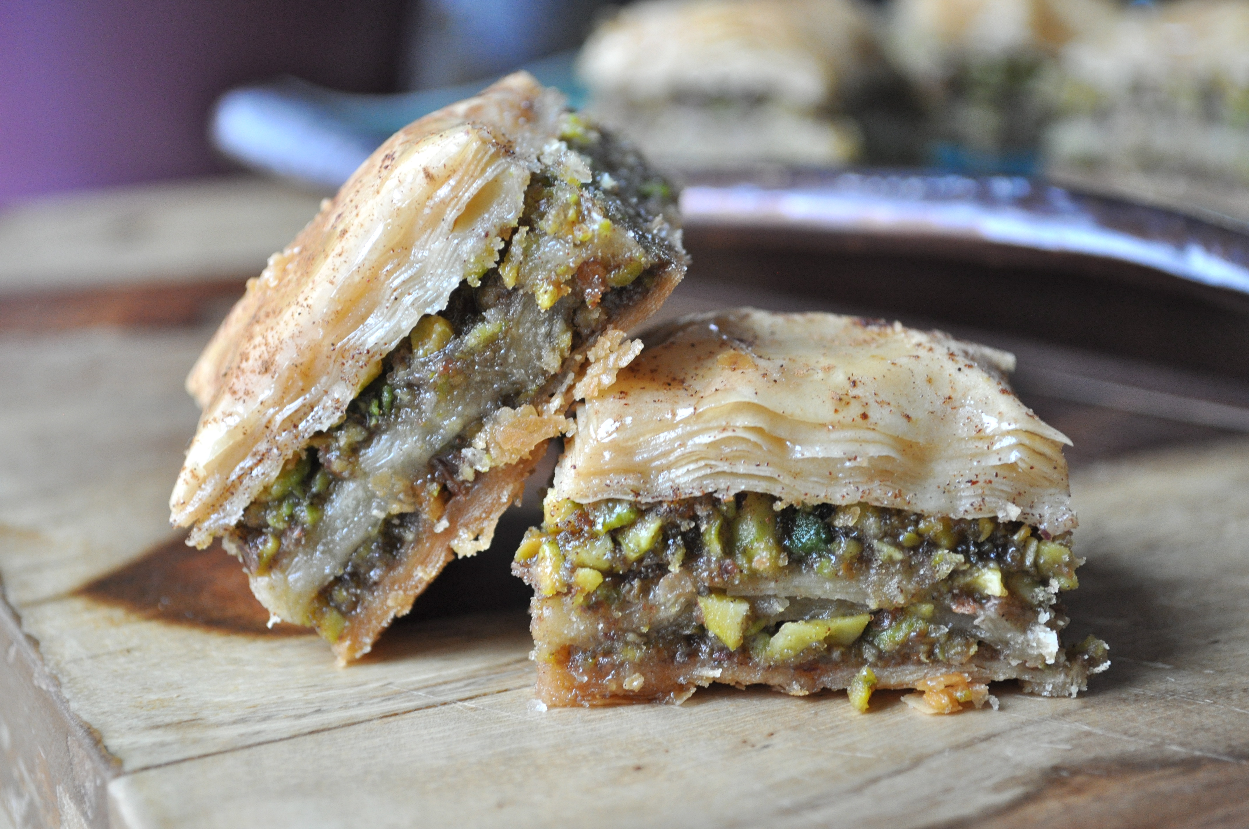 Celebrating Mom | Pistachio Baklava with Cinnamon Honey Syrup